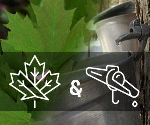 Logo Érable & Chalumeaux sur fond de chaudières d'eau d'érable